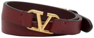 Valentino Burgundy Garavani Double Wrap VLogo Bracelet