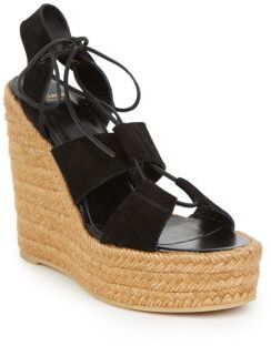 Saint Laurent Suede Lace-Up Espadrille Platform Wedge Sandals $595 thestylecure.com