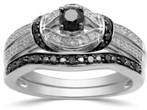 Generic 1/2ct. T.W. Black and White Diamond Sterling Silver Bridal Set