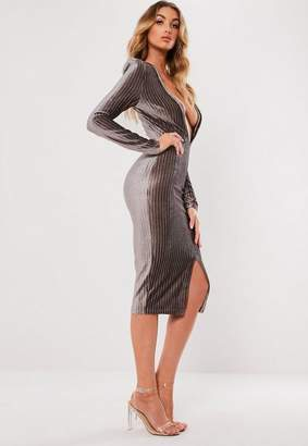 Missguided Metallic Stripe Plunge Dress