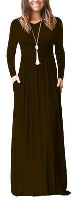 Dasbayla Women's Long Sleeve Long Maxi Dresses Plus Size with Side Pockets S