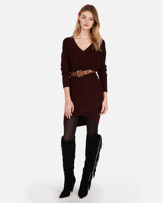 Express V-Neck Crossover Sweater Dress