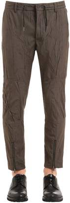 Antonio Marras 17cm Wrinkled Twill Pants W/ Zips At Hem