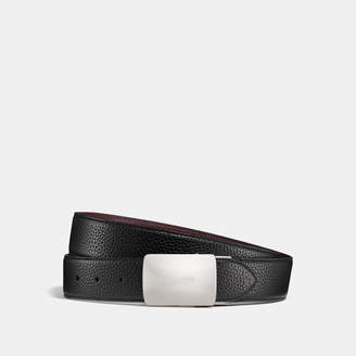 Coach Wide Plaque Cut-to-size Reversible Pebble Leather Belt