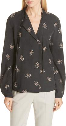 Vince Tossed Bouquet Tie Neck Blouse