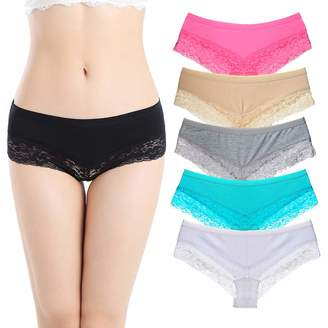 3cefce19a65f Nightaste Women's 6-Pack Comfort Cotton Lace Trim Stretchy Hipster Briefs  Boyshorts Underwear (M