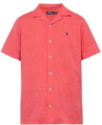 Polo Ralph Lauren Logo Embroidered Linen Blend Shirt - Mens - Red