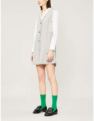 Thom Browne Frayed sleeveless crepe dress