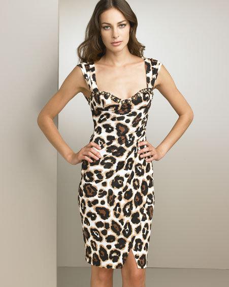 Blumarine Jeweled Animal-Print Dress