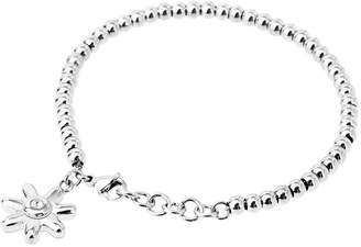 Camilla And Marc Aooaz Jewelry Womens Stainless Steel Link Bracelet Sunflower Pendant CZ Bracelet 17.5X1.4 Cm