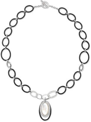 Alor Noir 18K & Stainless Steel 0.45 Ct. Tw. Diamond & 4.80Mm Mother-Of-Pearl Toggle Necklace