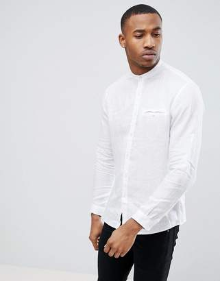 Celio Long Sleeve Shirt With Grandad Collar In White