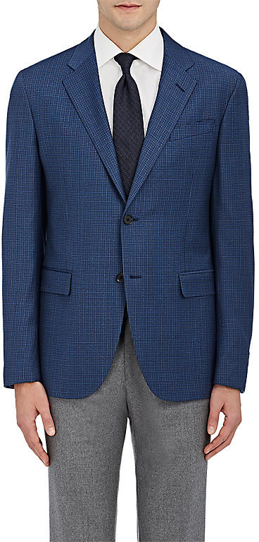 Barneys New York Barneys New York BARNEYS NEW YORK MEN'S CHECKED TRAVELLER WOOL TWO-BUTTON SPORTCOAT
