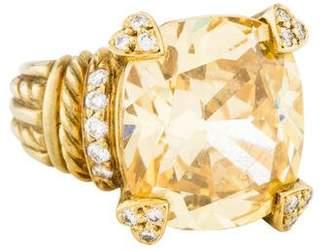 Judith Ripka 18K Canary Crystal & Diamond Cocktail Ring
