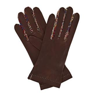 Gizelle Renee - Philomena Dark Brown Leather Gloves With BM Liberty Tana Lawn