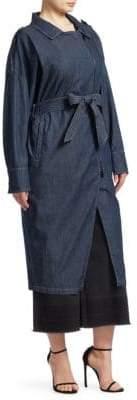 Marina Rinaldi Ashley Graham x A-Line Denim Shirt Dress
