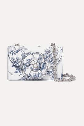 Oscar de la Renta Tro Floral-print Textured-leather Shoulder Bag - White
