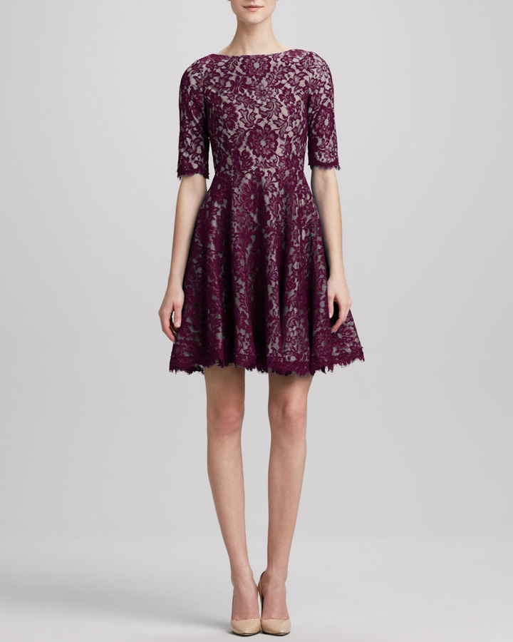 Monique Lhuillier ML Lace Jewel-Neck Fit-and-Flare Dress