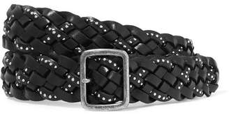 Saint Laurent Studded Woven Leather Belt - Black