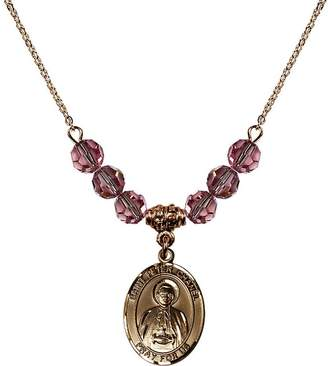 Chanel Bonyak Jewelry Saint Necklace Collection 18-Inch Hamilton Gold Plated Necklace with 6mm Light Rose Pink October Birth Month Stone Beads and Saint Peter Charm