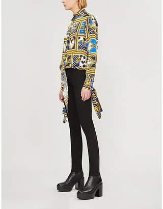 Versace Baroque-print satin cropped shirt