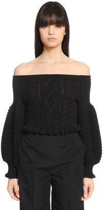 Valentino Cropped Off The Shoulders Wool Sweater