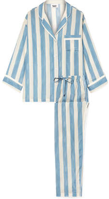 Sleepy Jones - Marina Striped Cotton-blend Pajama Set - Light blue