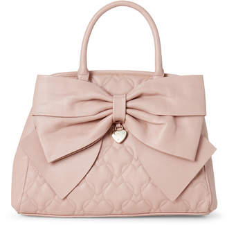 Betsey Johnson Blush Quilted Big Bow Satchel