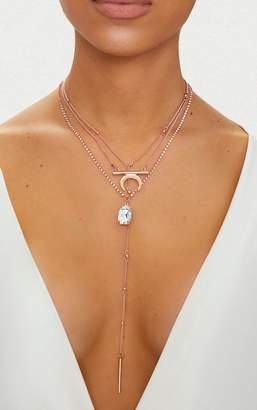 PrettyLittleThing Rose Gold Multi Layer Necklace With Diamante