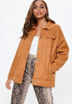 Missguided Tan Oversized Bonded Suedette Trucker Jacket, Brown