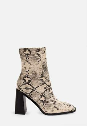 Missguided Gray Snake Print Square Toe Ankle Boots