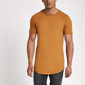 River Island Brown muscle fit crew neck T-shirt
