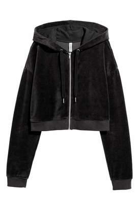 H&M Cropped Hooded Velour Jacket - Black - Women