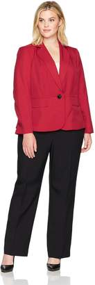 Le Suit LeSuit Women's Plus Size Glazed Melange 1 Button Pant Suit