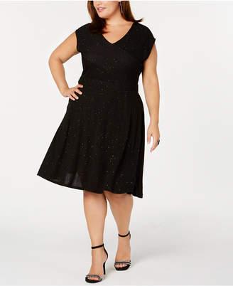 NY Collection Plus & Petite Plus Size Metallic Knit Fit & Flare Dress