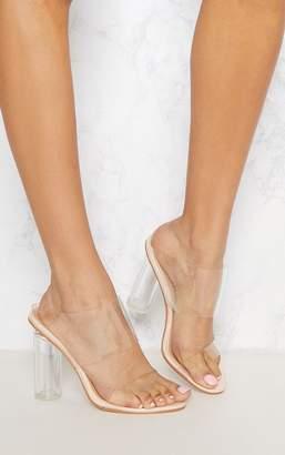 PrettyLittleThing Clear Block Heel Twin Strap Sandal
