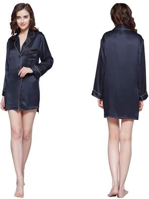 at Amazon Canada · LilySilk Silk Nightshirt for Women Long Sleeve Sleep  Shirt 100% Silk Sexy Short Ladies Nightgowns 2f867c5ab