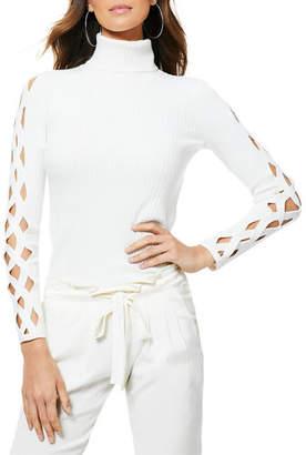 Ramy Brook Kimila Ribbed Lattice-Cutout Turtleneck Sweater