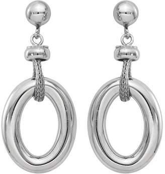 ING Italian Silver Oval Dangle Post Earrings, Sterling