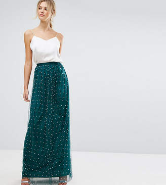 Asos Tall TALL Faux Pearl Embellished Tulle Maxi Skirt