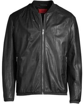 HUGO Lewy Perforated Leather Bomber Jacket