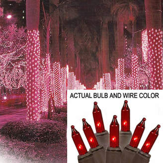 Asstd National Brand 2' X 8' Red Mini Christmas Net Style Tree Trunk Wrap Lights with Brown Wire