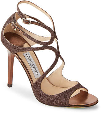 Jimmy Choo Bronze Lang Glitter High Heel Sandals