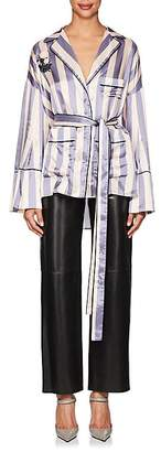 Off-White Women's Striped Satin Belted Blouse
