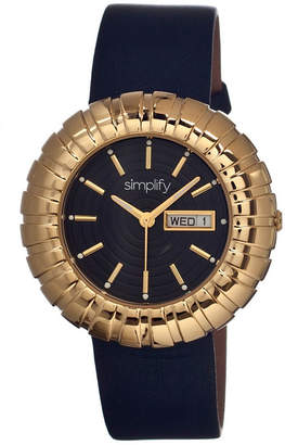Simplify Womens The 2100 Gold With Black Leather-Band Watch With Day&Date Sim2104
