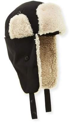 Shearling-Lined Trapper Hat, Black