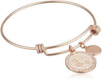 Disney Women's Rose Gold-Tone Stainless Steel Adjustable Bangle Bracelet with Plated Ohana Means Family Charm