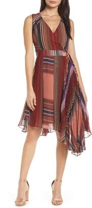 Harlyn Pleated Chiffon Faux Wrap Cocktail Dress