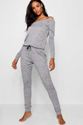 boohoo Tall Florence Slash Neck Lounge Jumpsuit