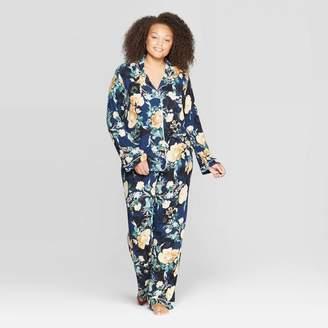 Stars Above Women's Floral Print Plus Size Beautifully Soft Notch Collar Pajama Set - Stars Above